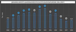Динамика импорта шампиньонов в РФ в натуральном выражении, 2006-2018 гг.