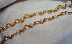 Gold and white pearl bracelets