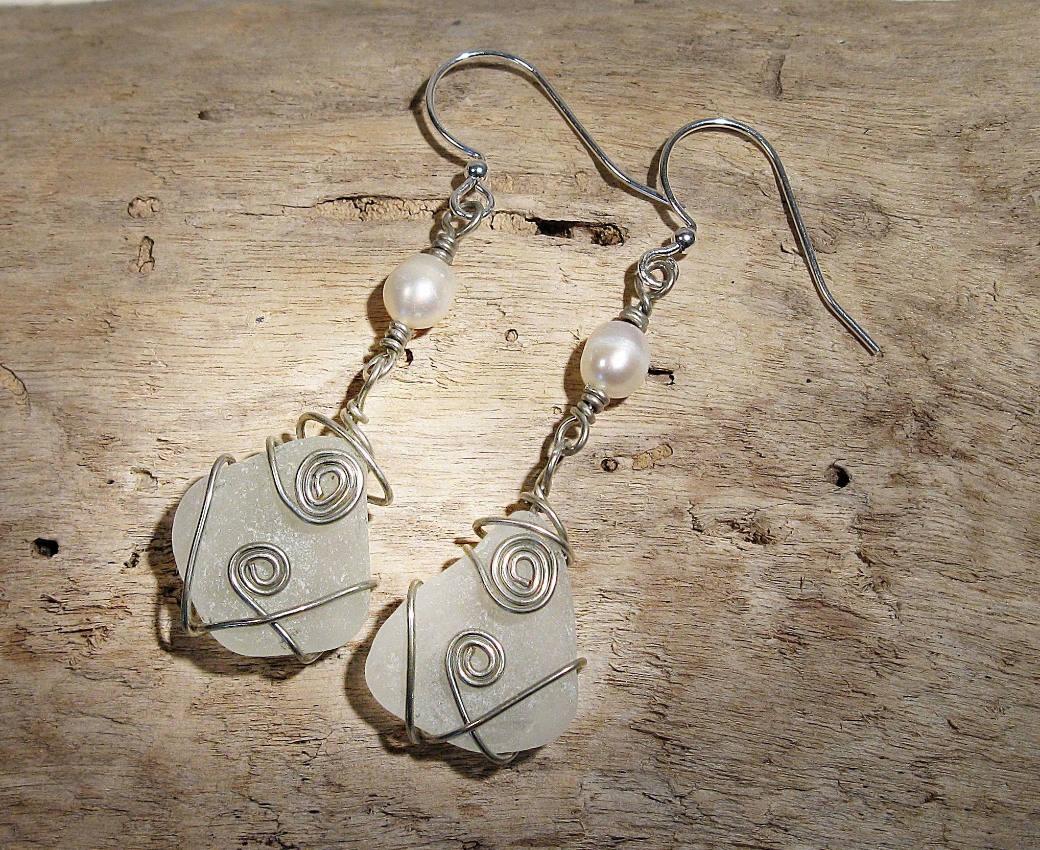 Silver sea glass teardrops