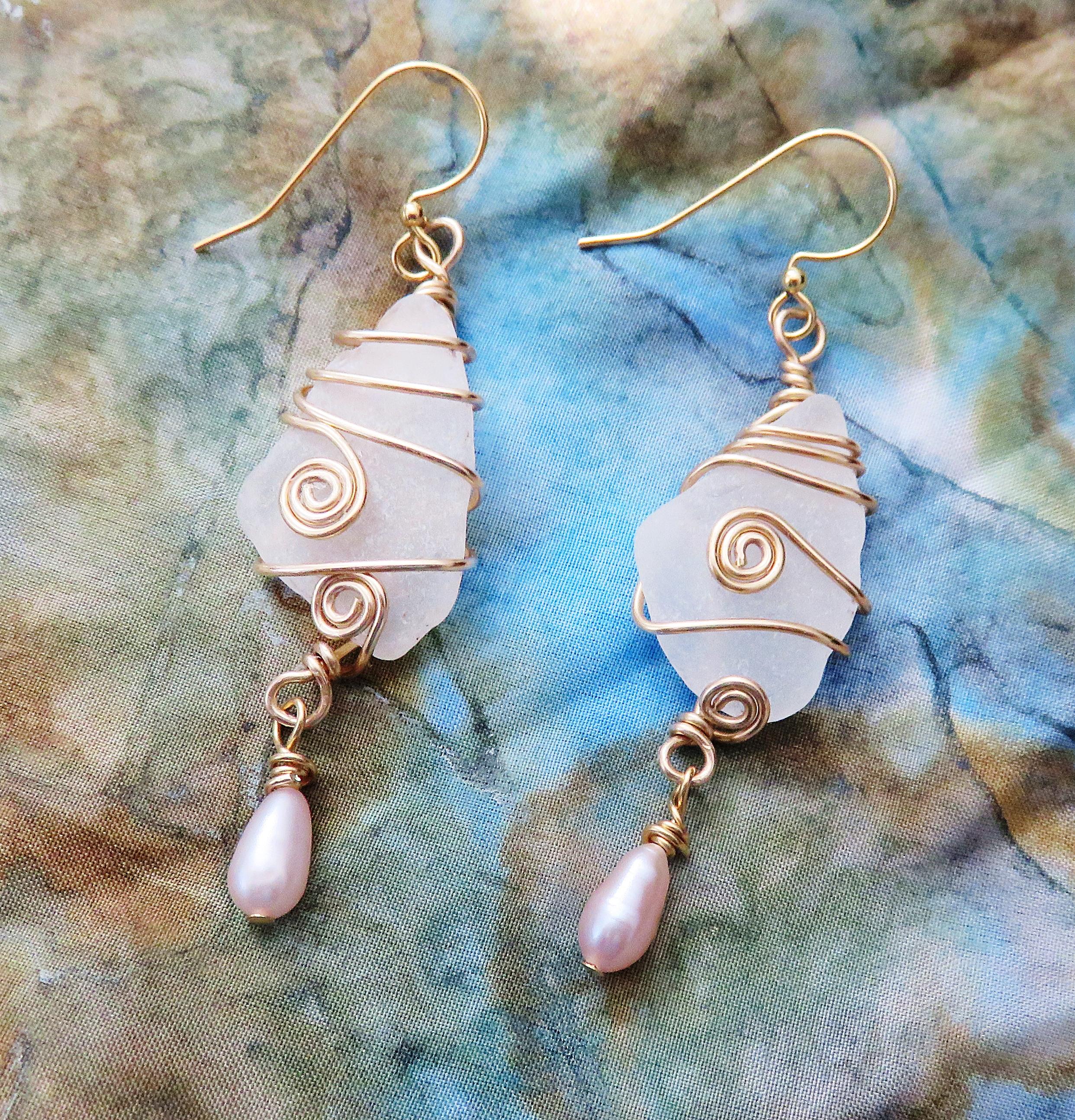Golden coil seaglass earrings