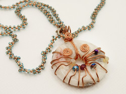 Copper Donut with Beaded Chain