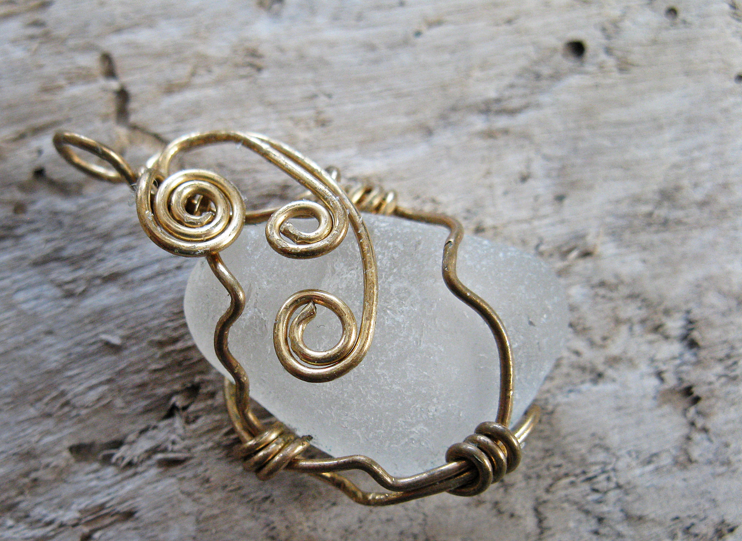 golden cage sea glass