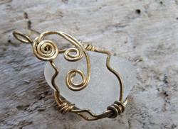 Triple spiral sea glass pendant