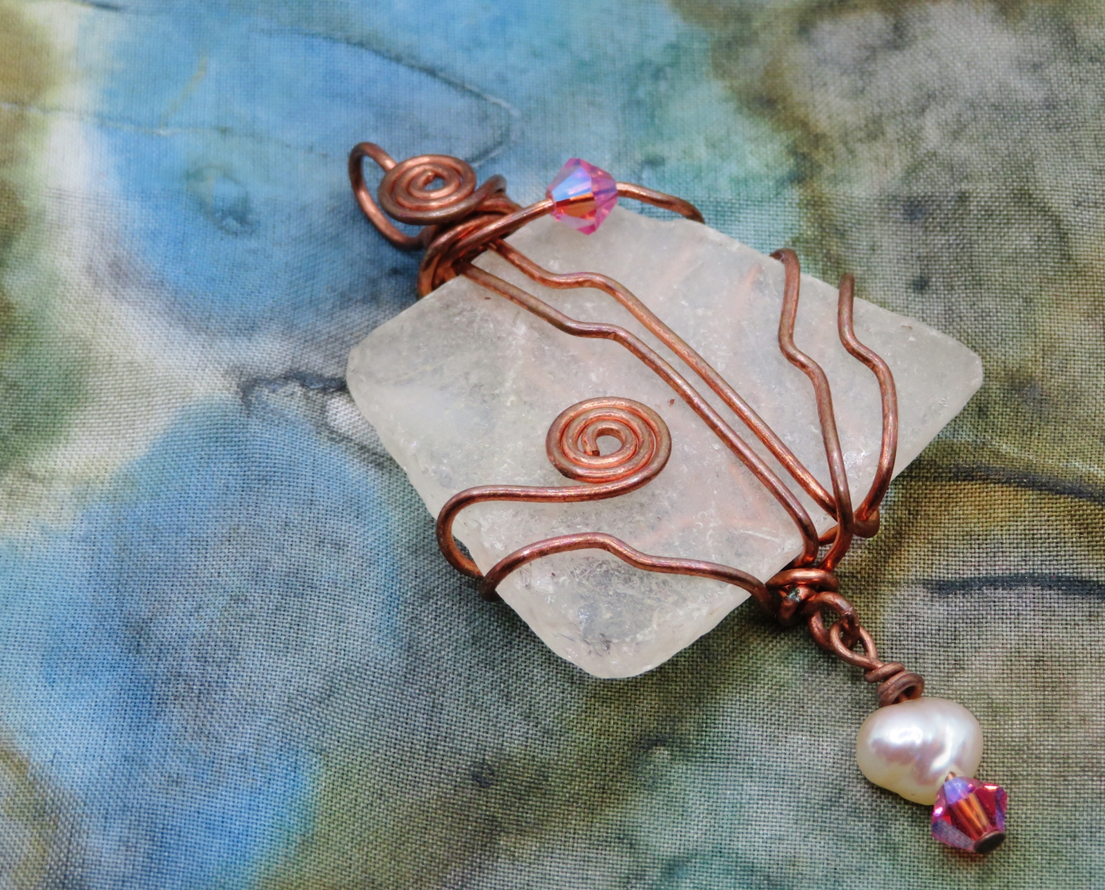 copper with pearl dangle