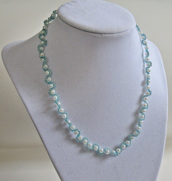 Icy blue pearl necklace