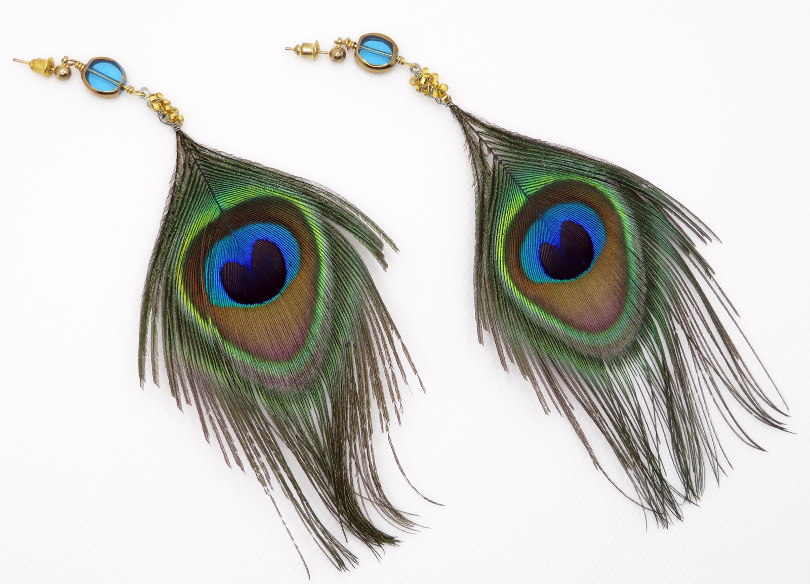 Peacock Feathers on Studs