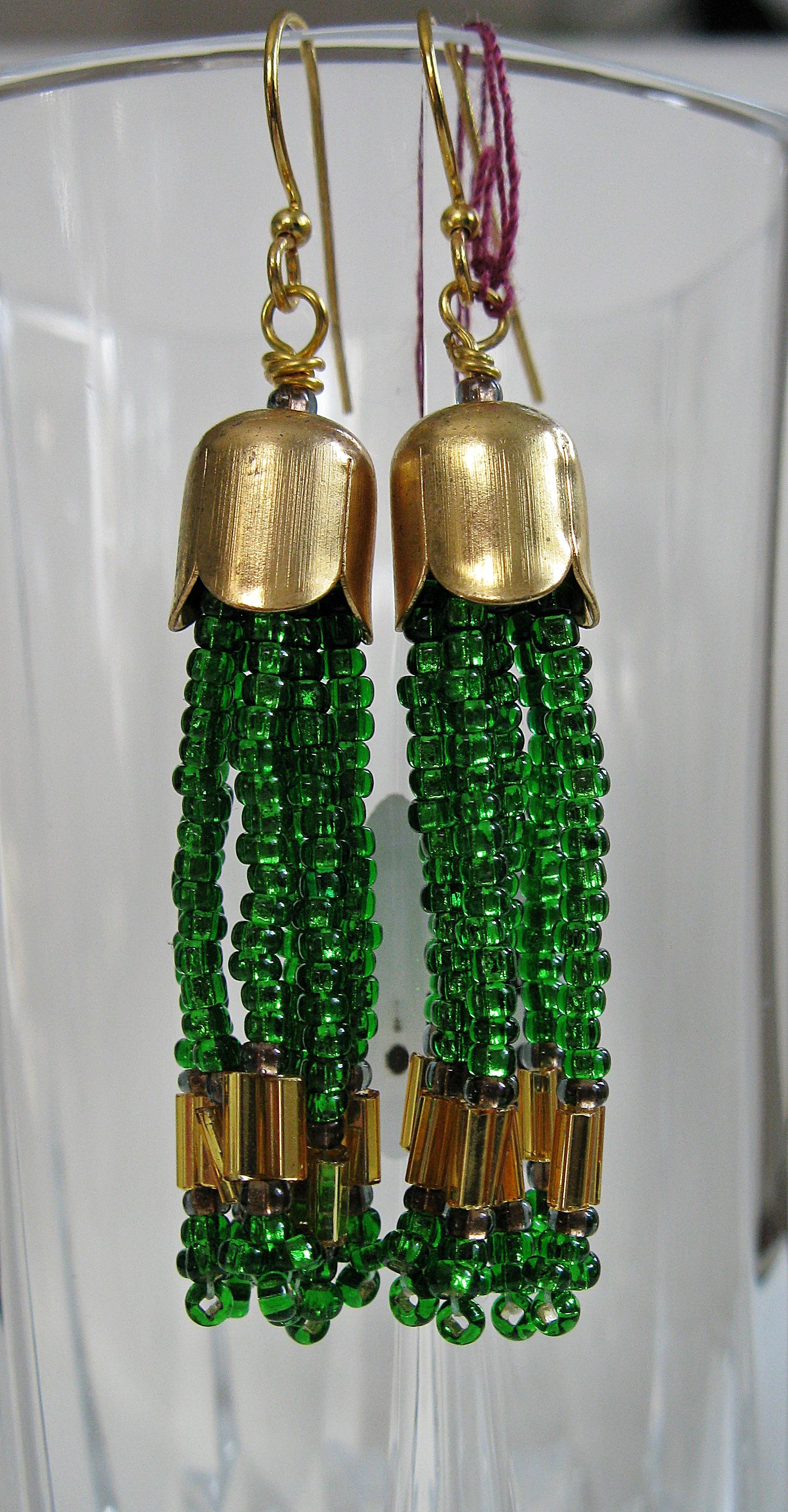 Earthy green tassel earrings