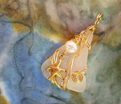 Golden beach day pendant