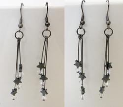 Dark shooting star drop earrings