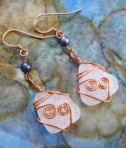 Copper hearts earrings