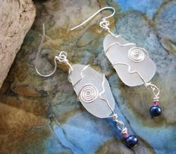 jigsaw sea glass earrings