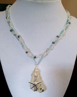 Sea glass on braided chain
