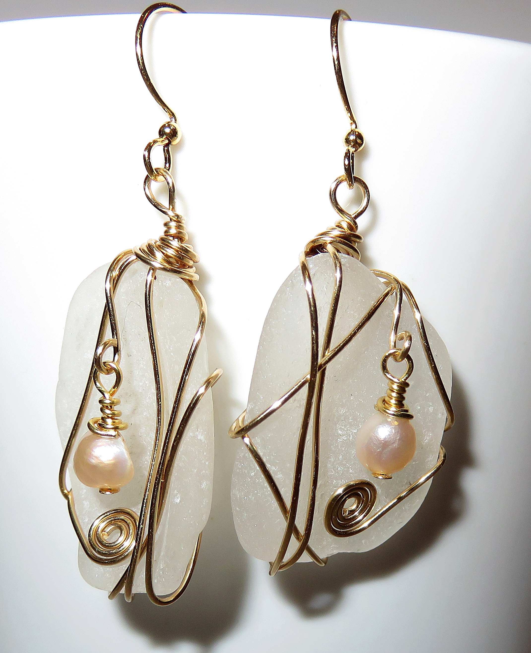 Simple brass and pearl earrings