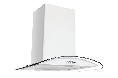 Curved Glass Hood . 60 cms. Carino. White. Model number 8632