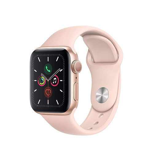 40 mm Apple Watch Series 5. Gold Alu Case with pink sport band. GPS Only