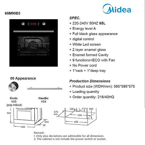 MIDEA ELECTRIC OVEN 9 FUNCTIONS BLACK. MODEL 65M90EO
