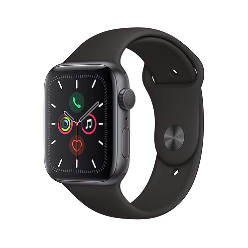 44mm Apple Watch Series 5. Space Grey Alu Case with Black Sport Band. GPS Only