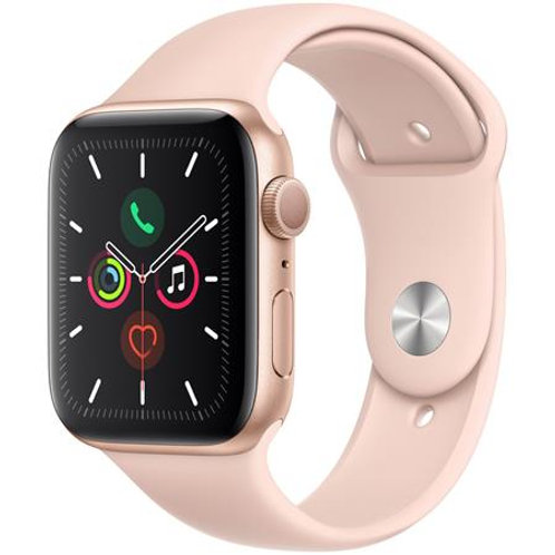 44 mm Apple Watch Series 5. Gold Alu Case with pink sport band. GPS Only
