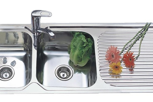 TWO BOWL SINK WITH DRAIN AREA. MODEL NH351