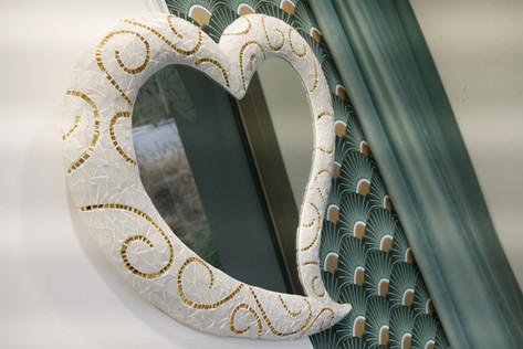 Miroir mosaique Coeur Arum