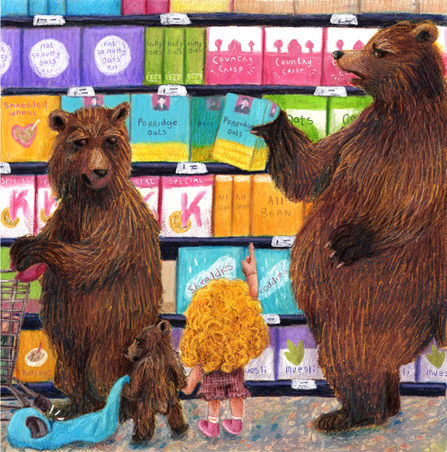 Goldilocks and the Three Bears in the cereal aisle