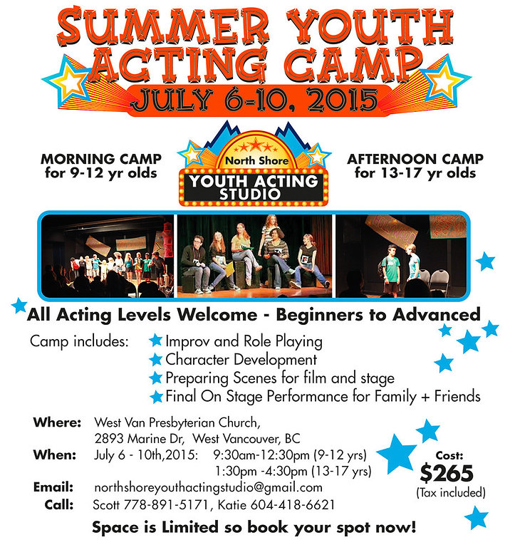 Youth acting summer camp in West Vancouver