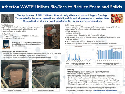 "WTS Poster at WIOA Victoria: ""Atherton WWTP Utilises Bio-Tech to Reduce Foam and Solids"""