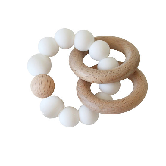 Alimrose White and Beechwood Teether Front View