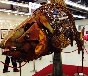 Salmon made from scrap metal