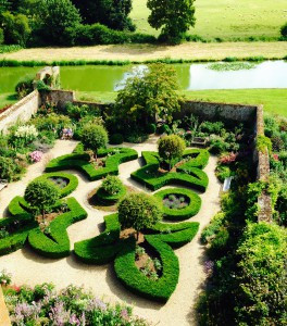 Broughton Castle walled garden and moat.