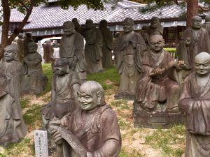 Stone sculptures outside Tenryu-ji Temple