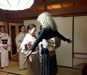 At tea ceremony