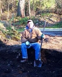 taking a break while composting