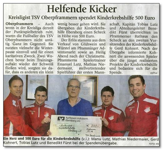 """""""Sportliche"""" 500,00 € vom TSV Oberpframmern"""