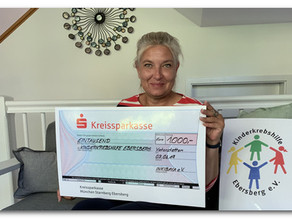 InKiBaVa e.V. spendet 1.000 € an die Kinderkrebshilfe Ebersberg e.V.