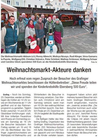 Weihnachtsmarkt-Akteure danken