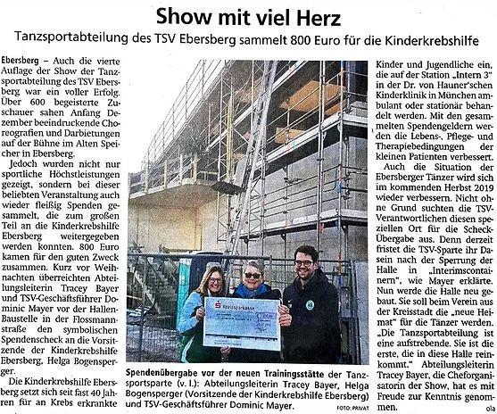 Show mit viel Herz der Tanzsportgruppe des TSV Ebersberg