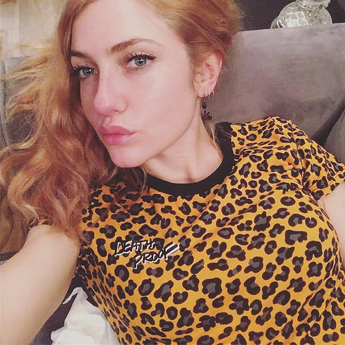 Leopard print t-shirt with logo