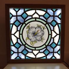 Tableau hibiscus en vitrail