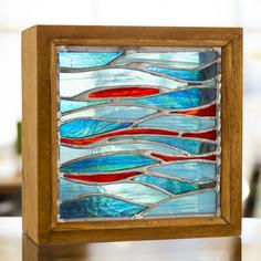 Boite vitrail poissons sauvages