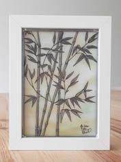 Tableau vitrail bambous en grisaille