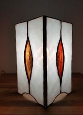 Lampe vitrail tiffany flameches or
