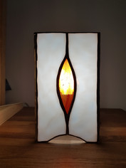 Lampe vitrail tiffany flameches feu
