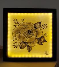Tableau vitrail fleur chou fleur