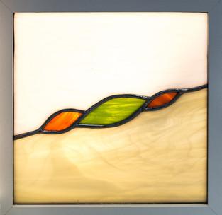 Tableau vitrail tiffany amande verte