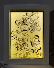 Tableau vitrail papillon fleur
