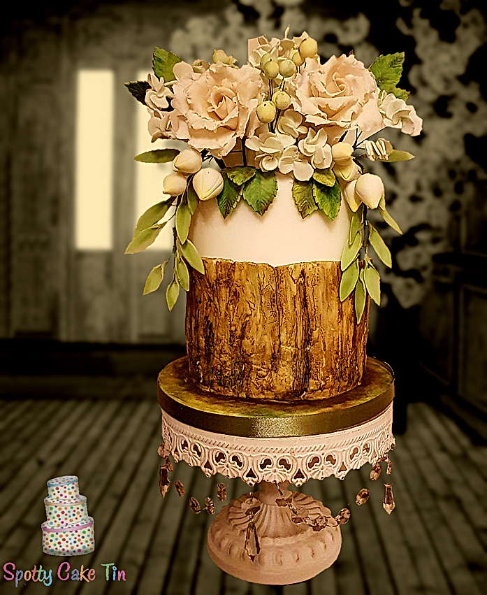 Rustic Bark With Roses Wedding Cake
