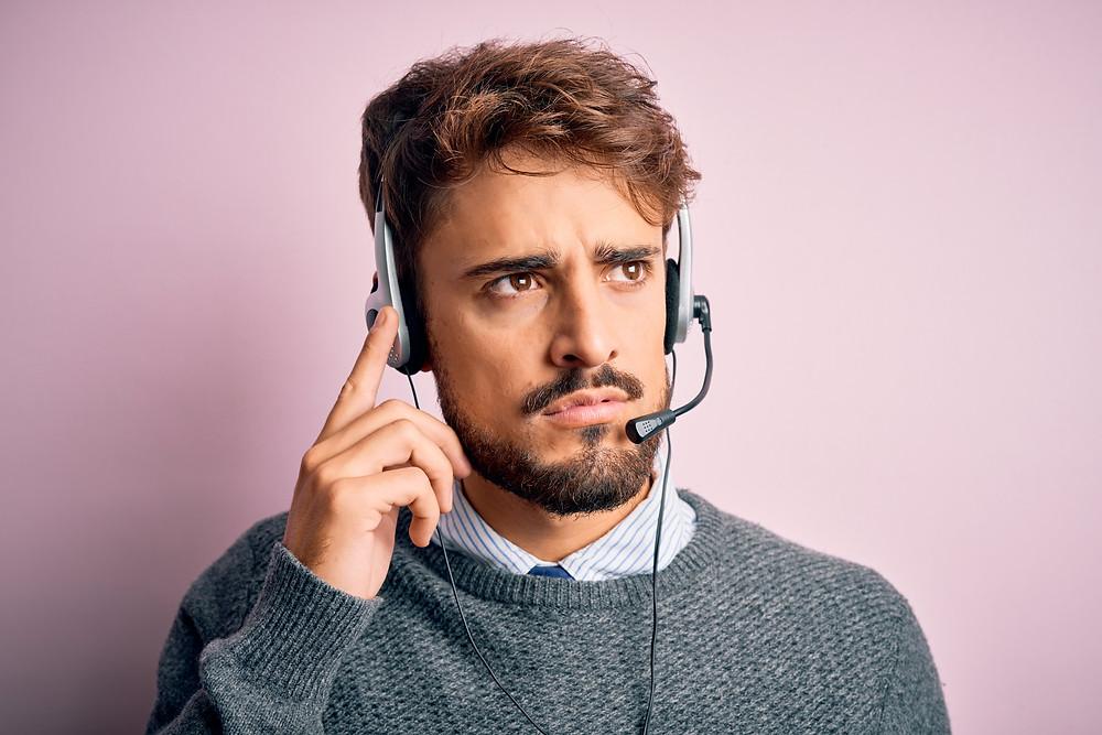 Customer service rep managing stress