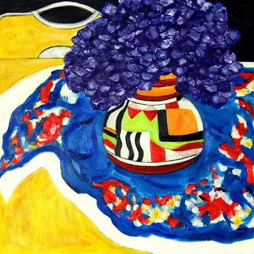 Primary Colors - Hydrangeas in Clarice Cliff Vase