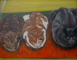 Mat Cats- oil on canvas